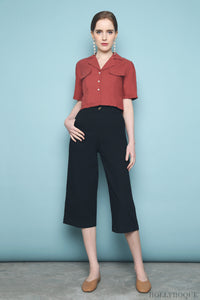 Military Pocket Cropped Shirt Rust
