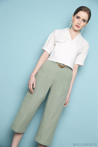 Military Pocket Cropped Shirt White