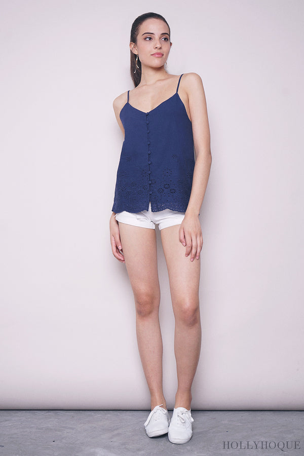 Noemi Embroidered Strappy Top Navy