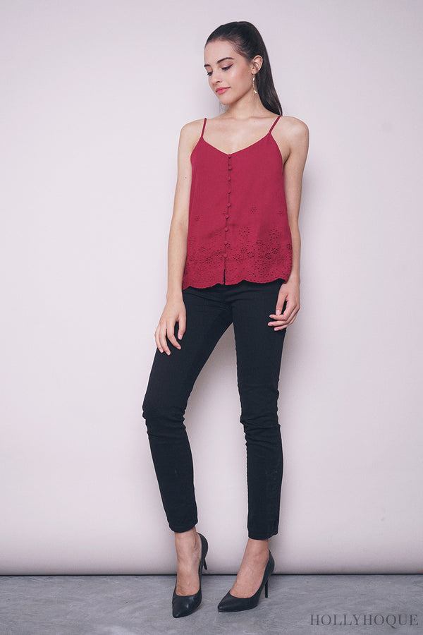 Noemi Embroidered Strappy Top Red