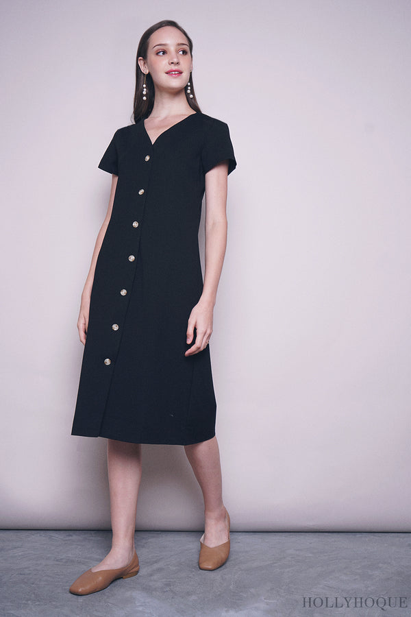 Noon Button Down Midi Dress Black