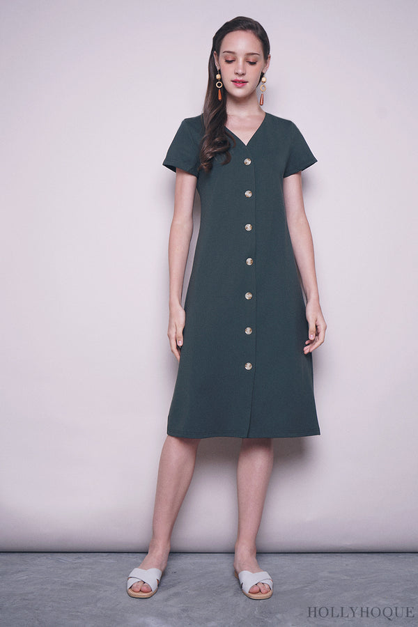 Noon Button Down Midi Dress Emerald