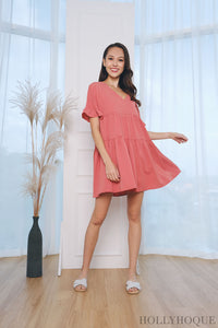 Ohio Tier Babydoll Dress Pink