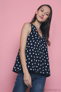 Polka Dot Sleeveless Blouse Navy