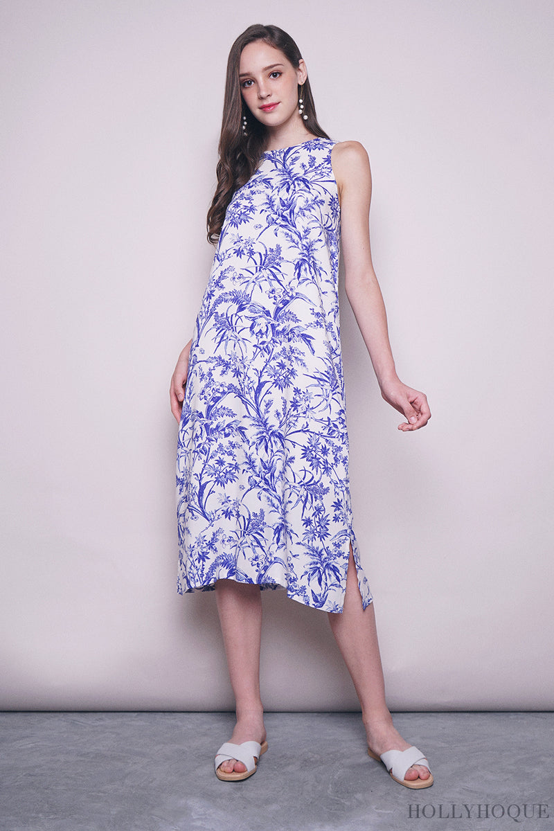 Porcelain Floral Midi Dress