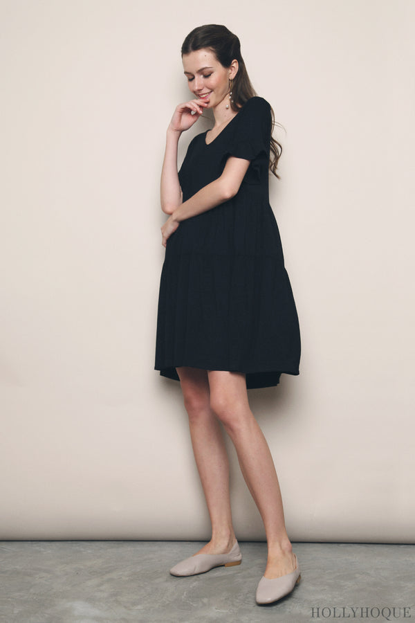 Pristine Jersey Tier Dress Black (Restock)