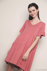 Pristine Jersey Tier Dress Tea Rose (Restock)