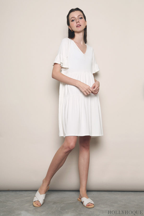 Pristine Jersey Tier Dress White (Restock)