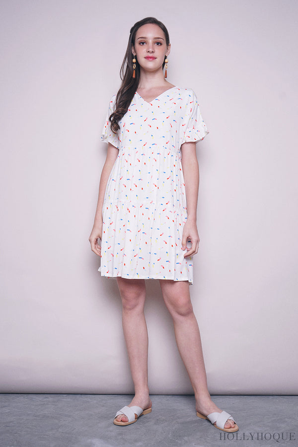 Rainbow Day Tier Babydoll Dress