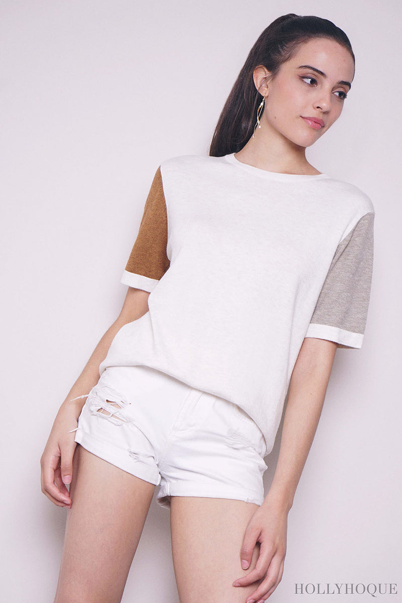 Roland Colorblock Knit Top Malt (Restock)