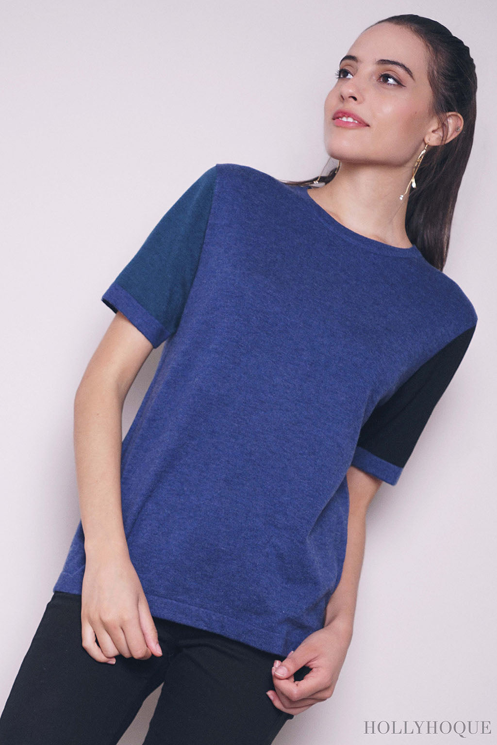 Roland Colorblock Knit Top Navy