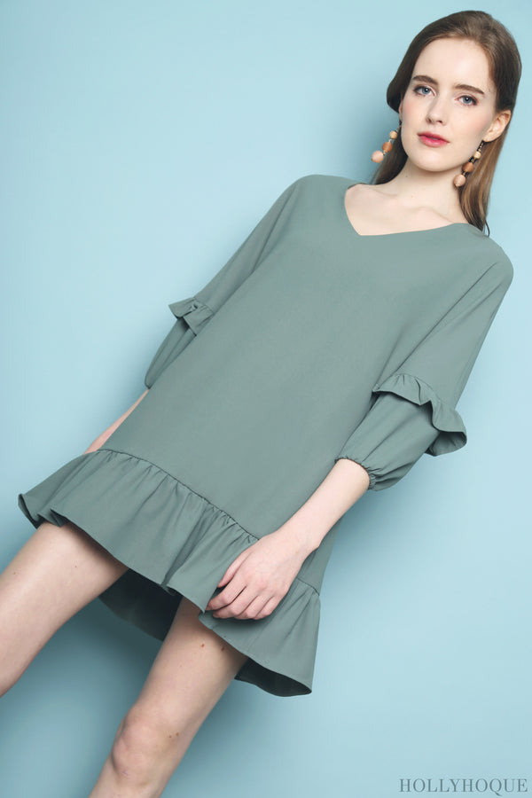 Randal Petal Sleeves Dress Green