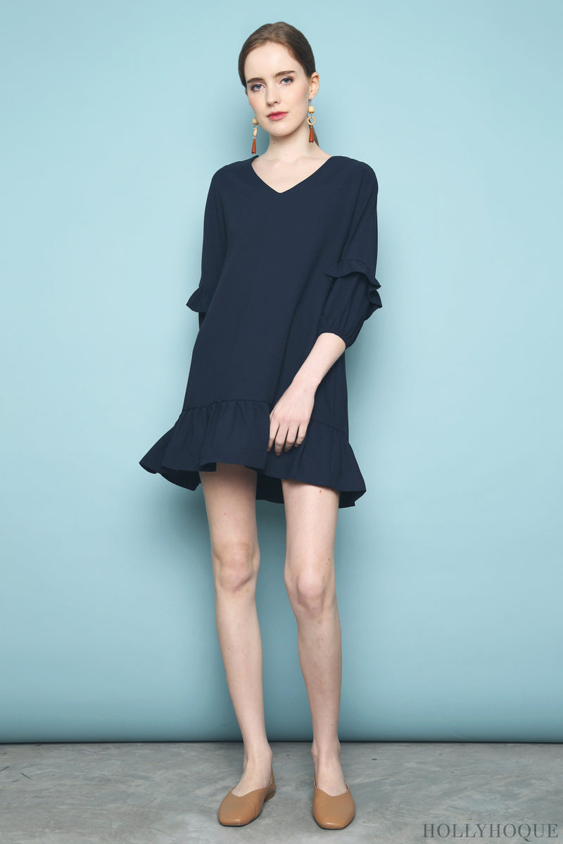 Randal Petal Sleeves Dress Navy