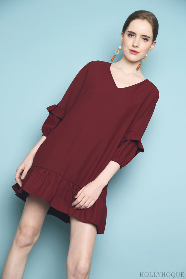 Randal Petal Sleeves Dress Red
