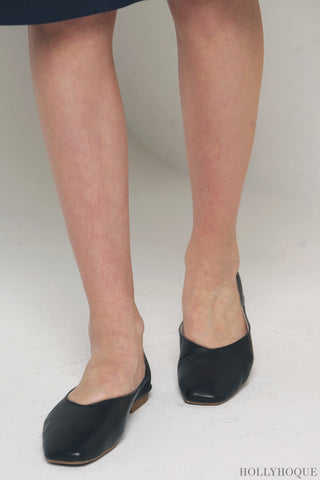 Mollie Leather Flats Black (Restock)
