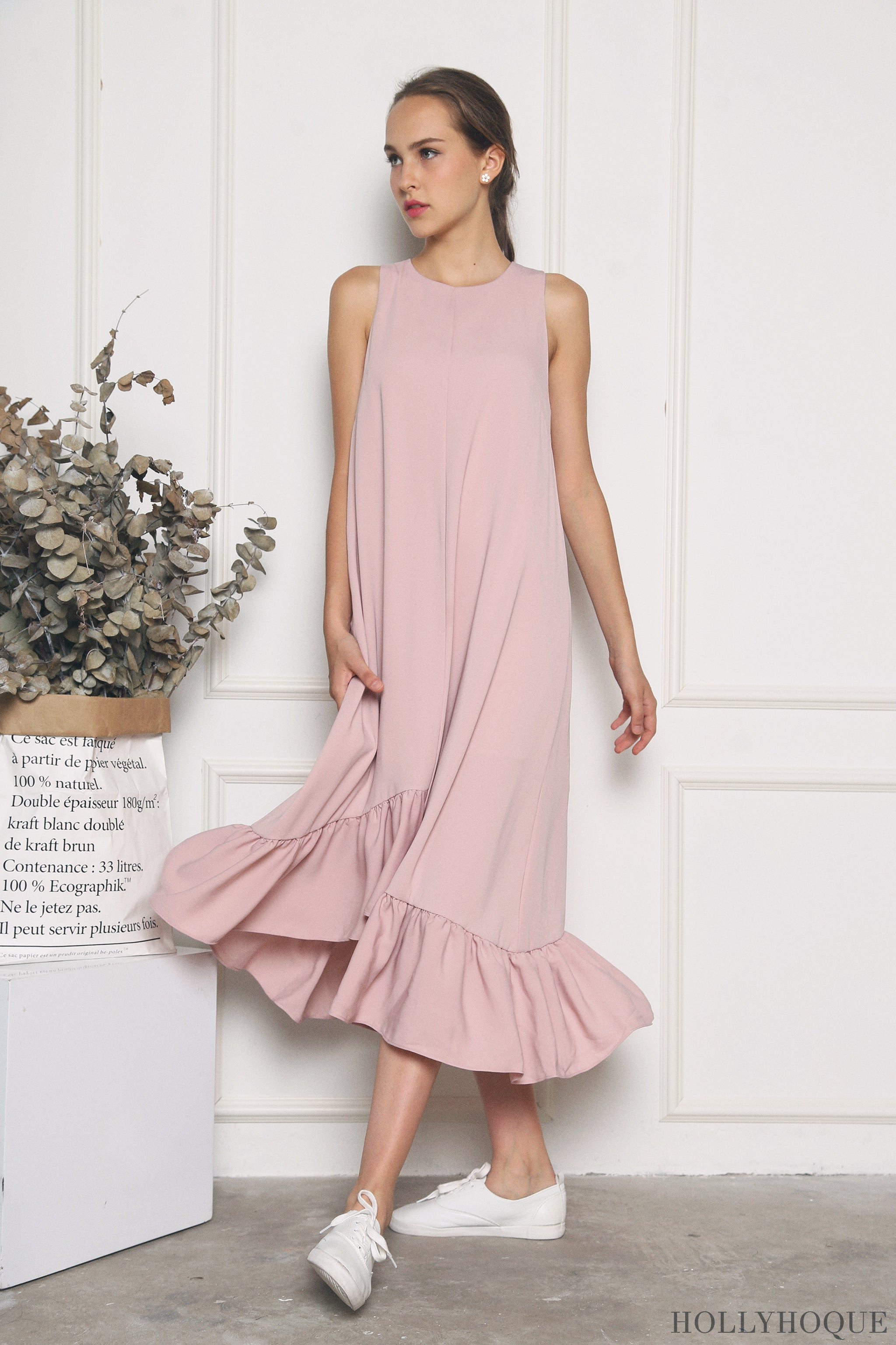Aurora Ruffles Maxi Dress Dust Pink