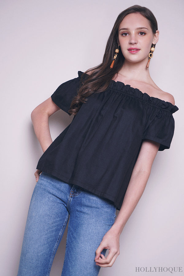 Ritz Off Shoulder Top Black