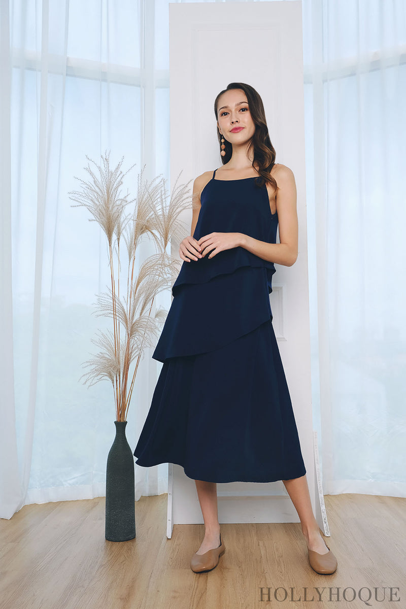 Seira Diagonal Tier Midi Dress Navy