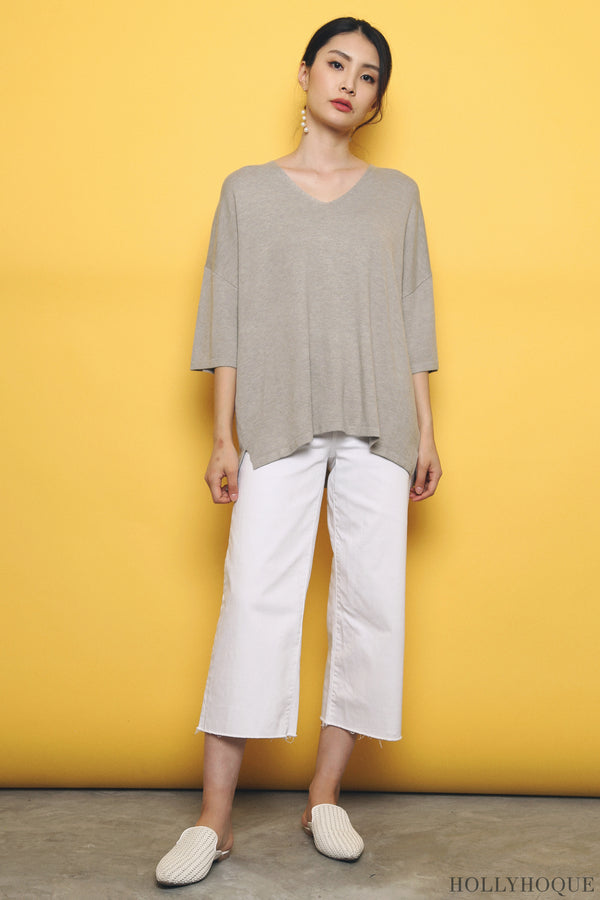 Smith Boxy Knit Top Taupe (Restock)