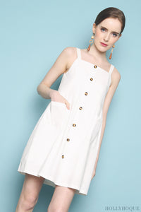 Strooper Pocket Babydoll Dress White