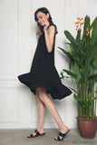 Charmer Ruffles Dip Dress Black (Restock)