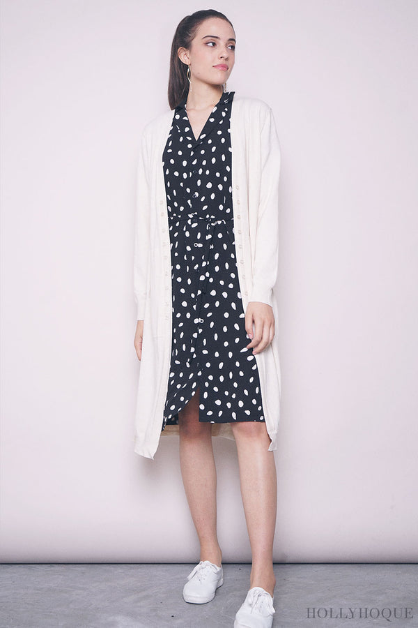 Thelma Buttons Long Cardigan Cream