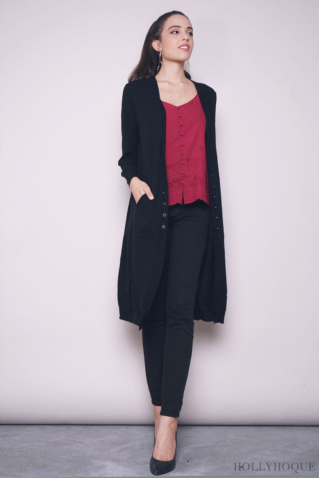 Thelma Buttons Long Cardigan Black