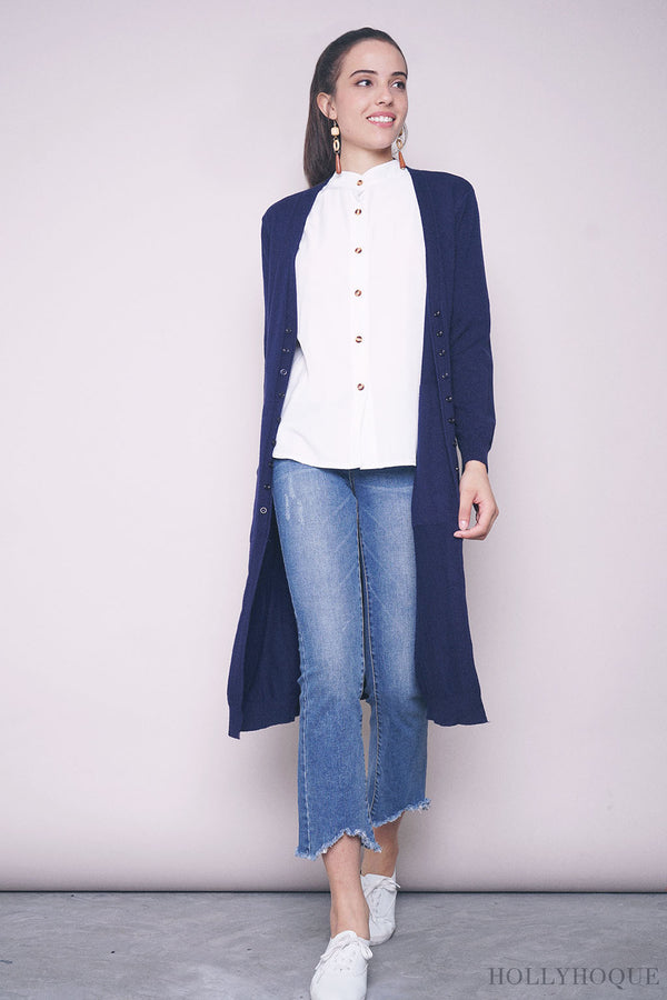 Thelma Buttons Long Cardigan Navy