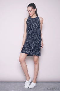 Tresia Printed Shift Dress Navy