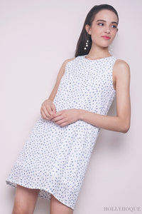 Tresia Printed Shift Dress White