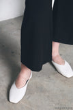 Mollie Leather Flats White (Restock)