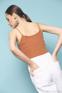Trevie Strappy Ribbed Tank Brown