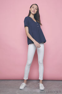 Venice Button Babydoll Top Navy