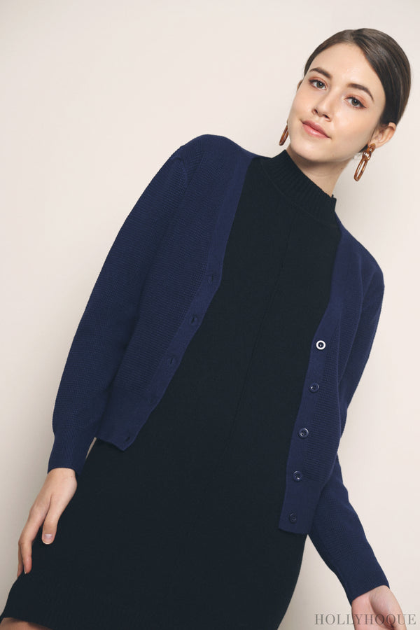 Waffles Knit Cardigan Navy