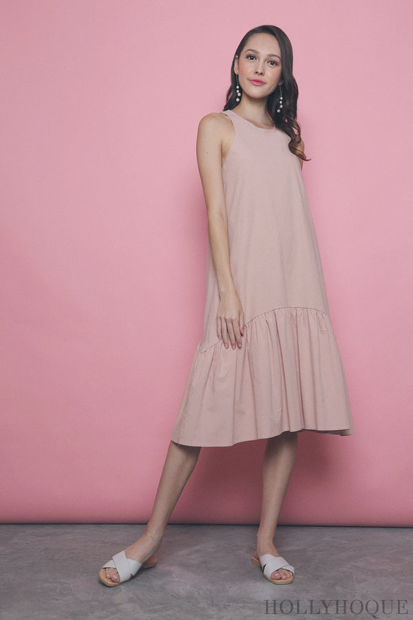 Widya Peplum Midi Dress Pink