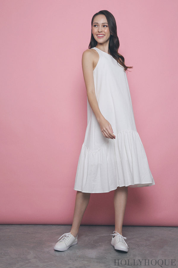 Widya Peplum Midi Dress White