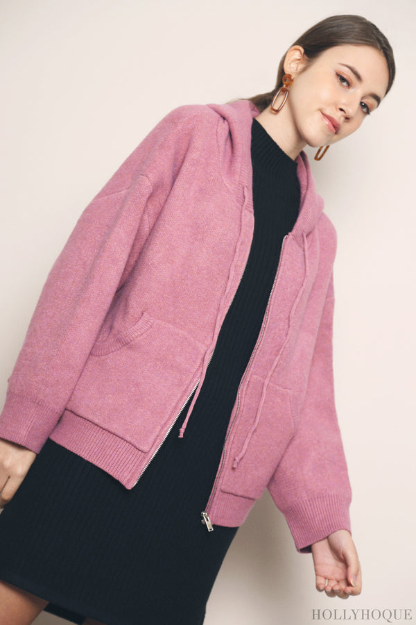 Willow Knit Hoodie Magenta