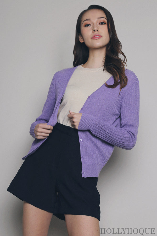 Wisteria Knit Cardigan Purple