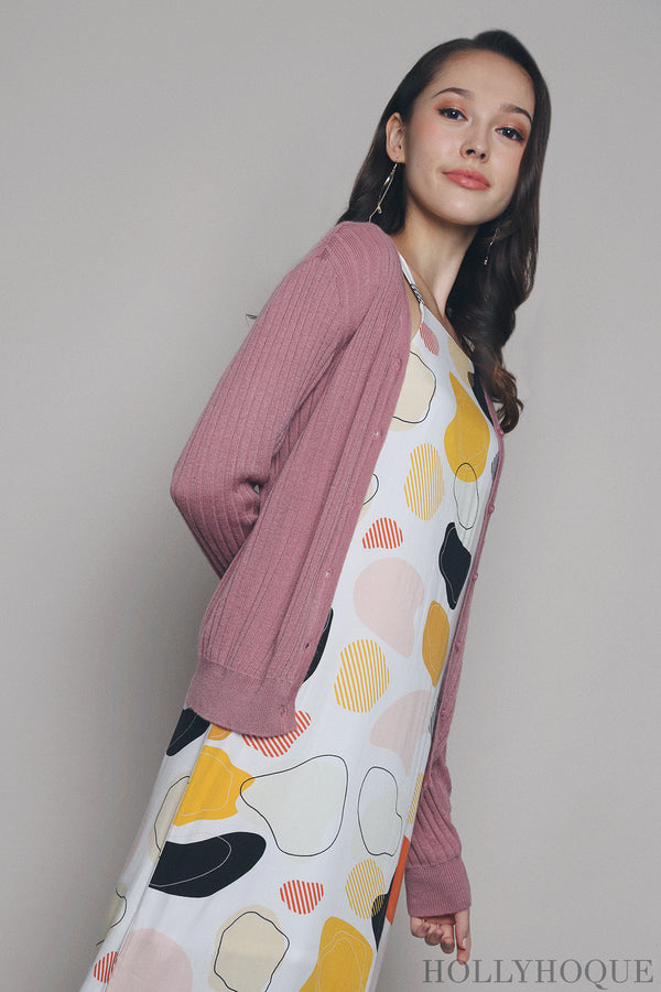 Wisteria Knit Cardigan Rose