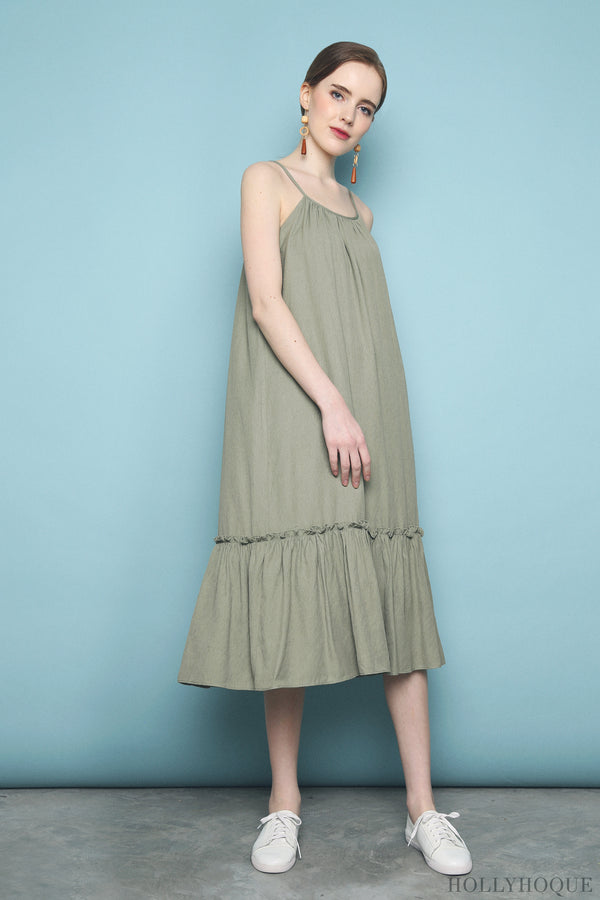 Xanga Ruffles Midi Dress Olive