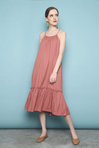 Xanga Ruffles Midi Dress Rose
