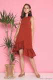 Charmer Ruffles Dip Dress Maple (Restock)