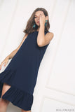 Charmer Ruffles Dip Dress Navy (Restock)