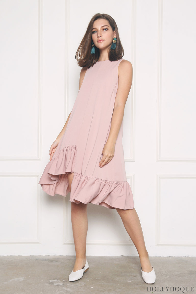 Charmer Ruffles Dip Dress Dusty Pink (Restock)
