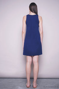 Yanice Basic Sleeveless Dress Navy
