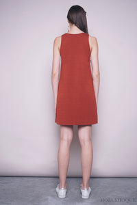 Yanice Basic Sleeveless Dress Rust