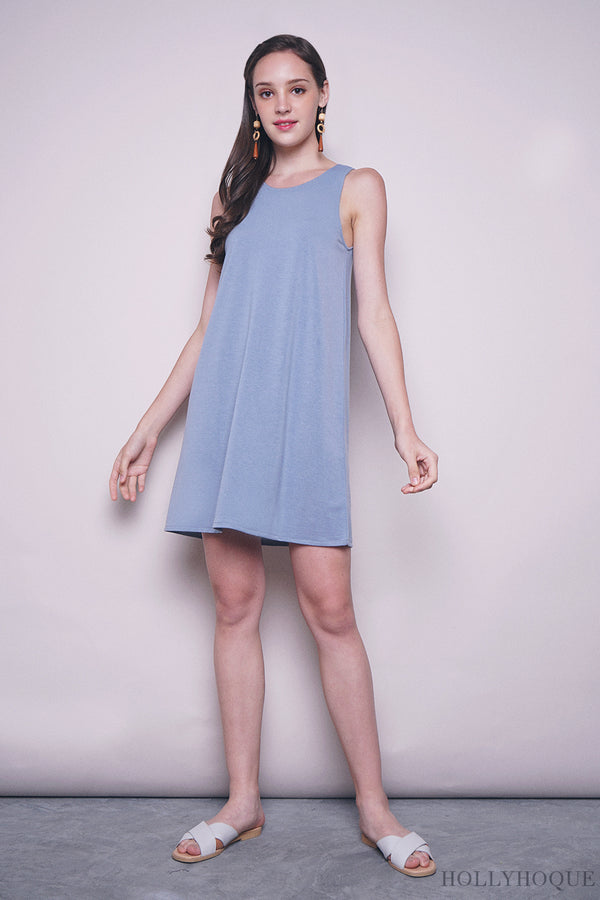 Yanice Basic Sleeveless Dress Sky