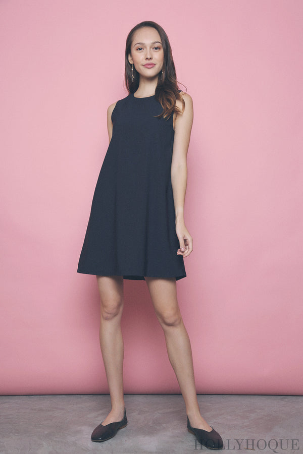 Yen Sleeveless Shift Dress Navy