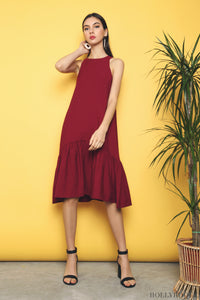 Windser Peplum Midi Dress Burgundy (Restock)