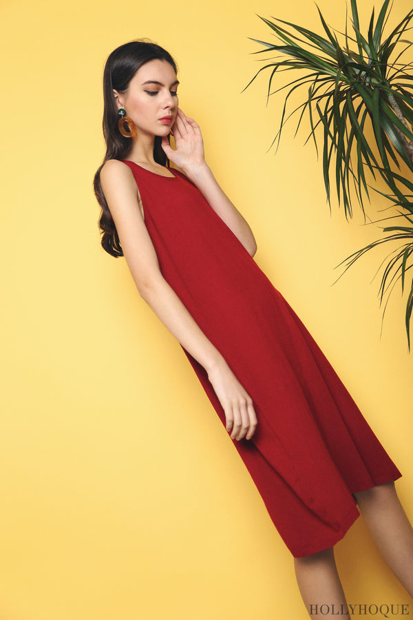 Willa Basic Knit Dress Red (Restock)